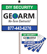GEOARM� Home Security Sign w/Post and 5-Pack Stickers Combo