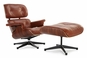 Classic Lounge Chair & Ottoman - Antique Brown Style 1