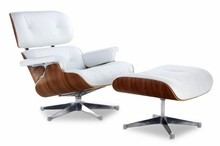 Classic Lounge Chair & Ottoman White with Chrome Base