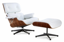 Classic Lounge Chair & Ottoman - White Black Base