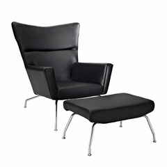 Hans Wegner Wing Chair & Ottoman Replica