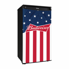 DAR033A1BBUD2 by Danby Compact Refrigerator, Budweiser Edition, Red White and Blue, Energy Star, 3.43 CF
