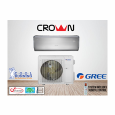 GREE CROWN18HP230V1A CROWN Single Zone Ductless Mini Split System with Inverter Heat Pump, 18,000 BTU, 230 Volt, 30.5 SEER, Includes Indoor Wall Unit with Remote and Outdoor Condenser