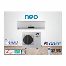 GREE NEO09HP230V1A NEO Single Zone Ductless Mini Split System with Inverter Heat Pump, 9,000 BTU, 230/208 Volt, 16.0 SEER, Includes Indoor Wall Unit with Remote and Outdoor Condenser