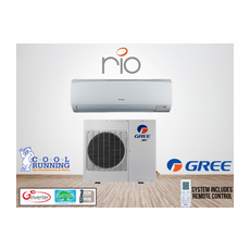 GREE RIO18HP230V1A RIO Single Zone Ductless Mini Split System with Inverter Heat Pump, 18,000 BTU, 230/208 Volt, 16.0 SEER, Includes Indoor Wall Unit with Remote and Outdoor Condenser