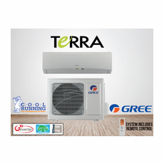 GREE TERRA09HP230V1A TERRA Single Zone Ductless Mini Split System with Inverter Heat Pump, 9,000 BTU, 230/208 Volt, 27.0 SEER, Includes Indoor Wall Unit with Remote and Outdoor Condenser