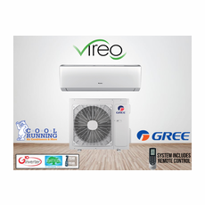 GREE VIR18HP230V1A VIREO Single Zone Ductless Mini Split System with Inverter Heat Pump, 18,000 BTU, 230/208 Volt, 30.5 SEER, Includes Indoor Wall Unit with Remote and Outdoor Condenser