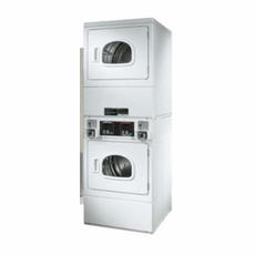 Speed Queen SSE917WF Commercial Coin Operated Stacked Electric Dryers with Windowed Doors, Strongbox Security Section, Galvanized Steel Cylinder with 18 lb. Capacity, Coin Slide, Coin Box and Door Lock are Not Included (Items CK014 and CK001-2 Required)