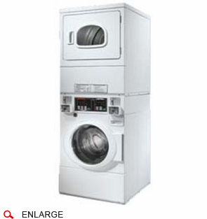 Speed Queen STEBCFSP Commercial Stacked Front Load Washer and Electric Dryer, Independent Controls for Each Unit, Multi Cycles for Washing and Drying, High Speed Extract 1,000 RPM, Stainless Steel Washtub, Coin Drop Included, Coin Box and Door Lock are Not Included (Item# CK042-2 Needed)