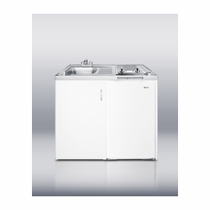 """Summit C39AUTOGLASS 39"""" All-In-One Combination Kitchen with Two Smoothtop Burners, Auto Defrost Refrigerator-Freezer, Sink and Cabinet"""