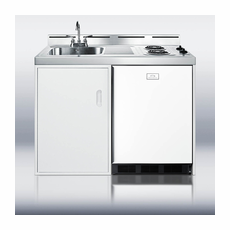 """Summit C48EL 48"""" Wide All-in-One Kitchenette with Two Coil Burners, Cycle Defrost Refrigerator-Freezer, Sink and Storage Cabinet"""