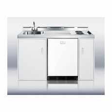 """Summit C60ELGLASS 60"""" Wide All-in-One Kitchenette with Two Smooth Top Burners, Cycle Defrost Refrigerator-Freezer, Sink and Storage Cabinets"""