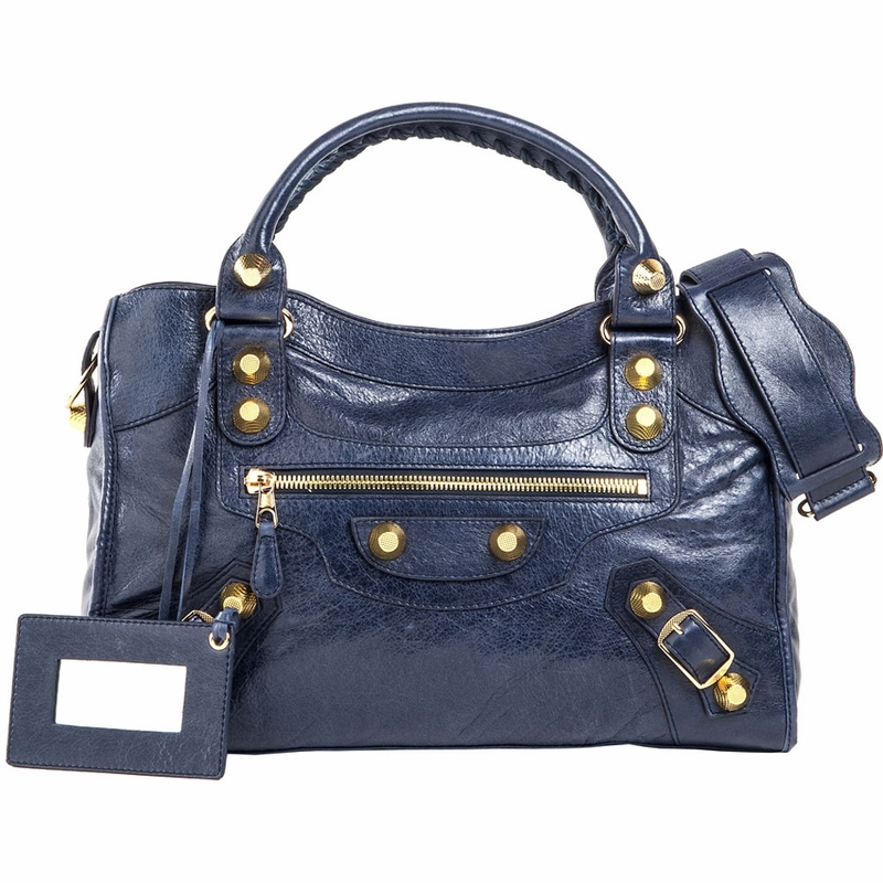 Balenciaga Giant Arena Leather City Bag - Navy Blue