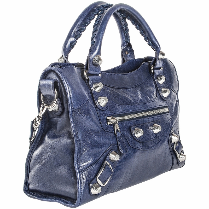 Balenciaga Handbag Silver Giant City - Navy Blue