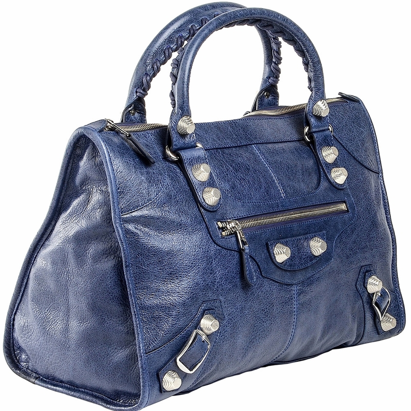 Balenciaga Handbag Silver Giant Work - Navy Blue