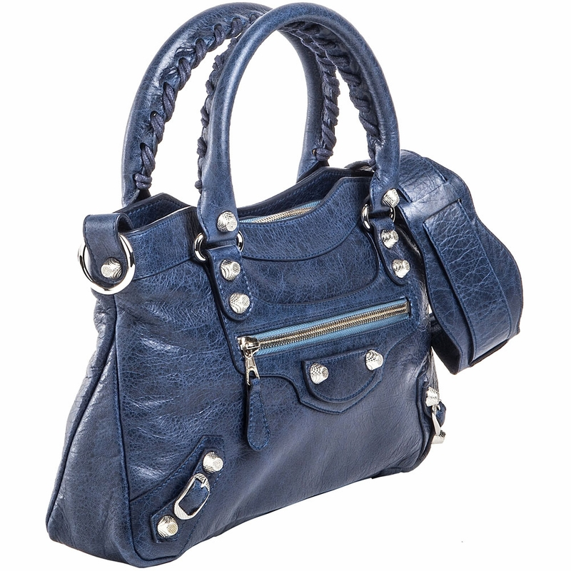 Balenciaga Silver Giant First Handbag - Navy Blue