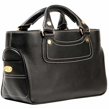 Celine Boogie Leather Handbag - Black/Gold