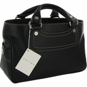 Celine Boogie Leather Satchel - Black/Silver