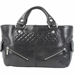 Celine Boogie Quilted Leather Motorcycle Handbag - Black