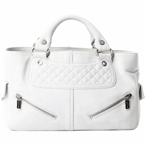 Authentic Celine Quilted Distressed Leather Biker Boogie Bag - Ash ...