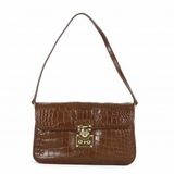 DKNY Croco Leather Handbag Dark Brown