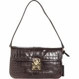 DKNY Croco Leather Handbag - Dark Brown Snake