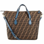 Fendi Top Fabric Leather Handle Bag - Brown