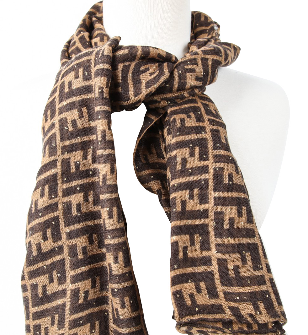 authentic fendi zucca and silk scarf brown at