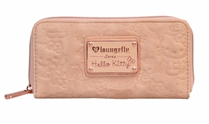 Hello Kitty Blush Embossed Face Wallet With Rose Gold