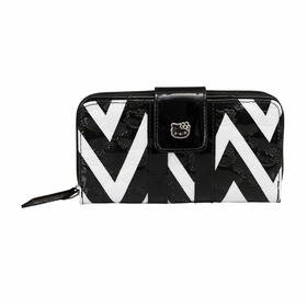Hello Kitty Chevron Print Embossed Wallet - Black/White