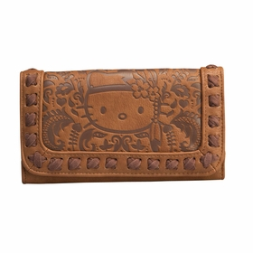 Hello Kitty Embossed Boho Wallet - Brown