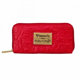 Hello Kitty Embossed Face Zip Around Wallet - Red