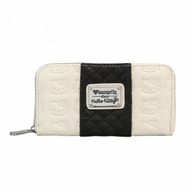 Hello Kitty Embossed/Quilted Zip Wallet - Cream/Black