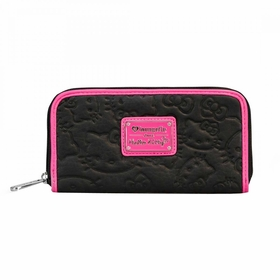 Hello Kitty Embossed Wallet - Black/Pink