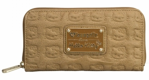 Hello Kitty Embossed Zip Around Wallet - Taupe