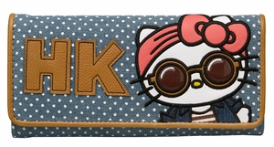 Hello Kitty Festival Denim With Faux Leather Wallet - Blue