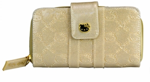 Hello Kitty Glitter Patent Embossed Wallet - Gold