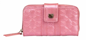 Hello Kitty Glitter Patent Embossed Wallet - Pink
