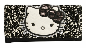 Hello Kitty Lace Flocked Floral Trifold Wallet - Black