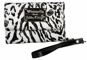 Hello Kitty Leopard/Zebra Cell Phone Wallet - White