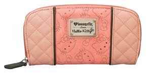 Hello Kitty Perforated Zip Wallet - Pink/Grey