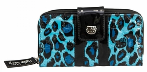 Hello Kitty Turquoise Leopard Patent Embossed Wallet - Blue