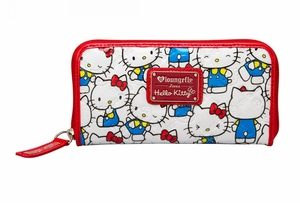 Hello Kitty Vintage Print Patent Embossed Wallet - White/Red