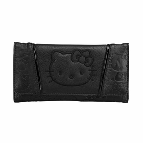 Hello Kitty with Patent Face Trifold Wallet - Black