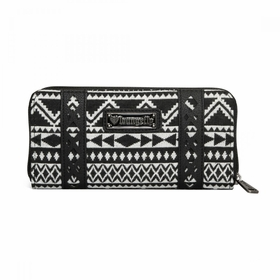 Loungefly Black Canvas Wallet with Skull Applique - White