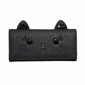 Loungefly Cat Wallet with 3D Applique Ears - Black