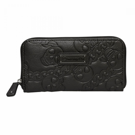 Loungefly Faux Leather Embossed Skull Chain Zip Around Wallet - Black