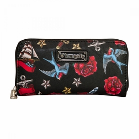 Loungefly Heart Dagger Sparrow Roses Wallet - MultiColor
