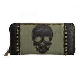 Loungefly Olive Twill Wallet With Black Skull Applique - MultiColor