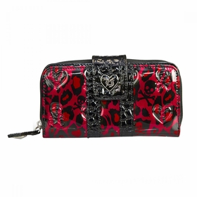 Loungefly Red Leopard Skull Patent Embossed Wallet - Black